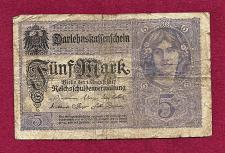 Buy GERMANY 5 Mark 1917 Banknote 10592519 -State Loan Currency Note- DARLENSKAFFEHSCHEIN