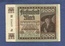 Buy GERMANY 5000 MARK 1922 BANKNOTE Na 429052HR MERCHANT PRINZ WEIMAR REPUBLIC
