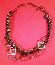 Buy Gold & Black Bracelet -Gold Trim Decorative Squares & Black Leather -Lightweight!