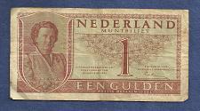 Buy NETHERLANDS 1 Gulden 1949 Banknote 6SJ000271,Queen Julianna at left P72 - WWII Era