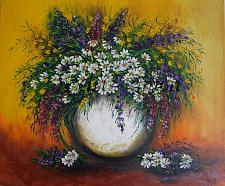 Buy Still Life, White Daisies Purple Flowers, Original Oil Painting Impasto Palette Knife