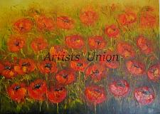 Buy Red Poppies Meadow Original Oil Painting Modern Landscape Palette Impasto Wild Flower