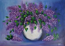 Buy Lilacs Original Oil Painting Still Life Purple Flowers Palette Knife Art White Vase