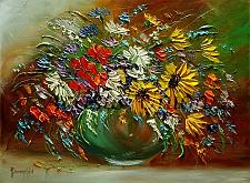 Buy Autumn Bouquet Original Oil Painting Impasto Still Life Palette Knife Art Flowers