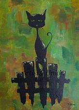 Buy Piskorz Black Cat Original Oil Acrylic Painting Modern Animal Art Abstract Background
