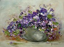 Buy Violets Original Oil Painting Still Life Purple Flowers Impasto Palette Knife Art