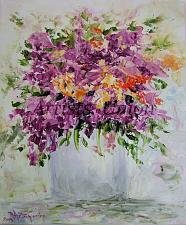 Buy Purple Flowers Original Oil Painting Still Life Impasto Palette Knife Art Violets