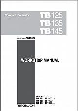 Buy Takeuchi TB125 TB135 TB145 Compact Excavator Service Manual on a CD