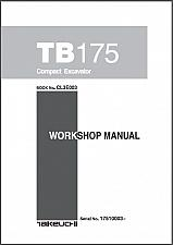 Buy Takeuchi TB175 Compact Excavator Service Manual on a CD