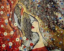 Buy Woman Swan Original Painting Acrylic Oil Art Nouveau Lady Portrait Hat Old Secession