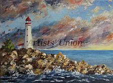 Buy Lighthouse Original Oil Painting Seascape, Impasto Palette Knife, Shore Rocks Seaside
