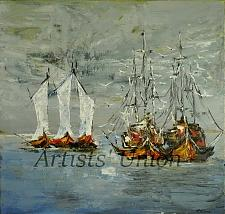 Buy Fishing Boats Original Oil Painting Seascape Impasto Modern Palette Knife Square 28in