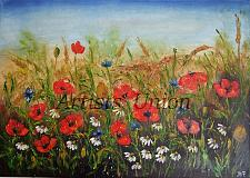 Buy Summer Meadow Original Oil Painting Red Poppies Landscape Impasto Palette Wild Flower
