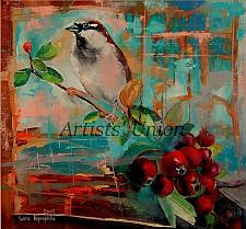 Buy Autumn Sparrow Original Oil Painting Contemporary Bird Art Red Rose Fruits Modern