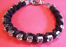 Buy Silver & Black Bracelet -Silver Stud w/Cubic Zirconium Stones & Black Cloth Trim