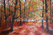 Buy Autumn Forest Original Oil Painting Fall Landscape Trees Palette Knife Art Leaves
