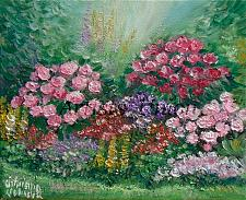 Buy Summer Garden Original Oil Painting Impasto Colorful Flowers Palette Knife Art Linen