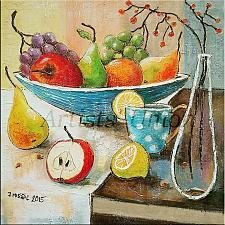 Buy Modern Still Life Original Oil Painting Grapes Apple Fruits Lemon Pear Glass Bottle