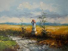Buy Summer Original Oil Painting Landscape Chapel Fields Palette Knife Art Countryside