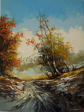 Buy Autumn Original Oil Painting Landscape Tree Snow Palette Knife Art Winter Countryside