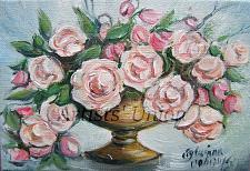 Buy Roses Original Oil Painting Bouquet Floral Fine Art Vase Impasto Palette Knife Linen