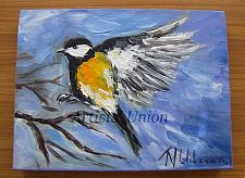 Buy Chickadee Original Oil Painting Impasto Yellow Bird Art Animal Palette Knife Textured