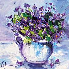 Buy Violets Original Oil Painting Still Life Purple Flowers Fine Art Jug Impasto Palette
