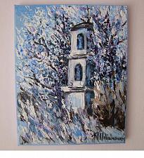 Buy Winter Chapel Original Oil Painting Landscape Tree Blue Fine Art Palette Textured