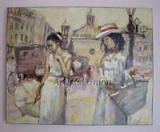 Buy Cityscape Women Original Oil Painting Old Town Figurative Art Cabs Umbrella Palette