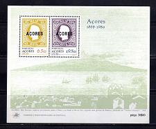 Buy Portugal Azores 315a stamp on stamp pair souvenir sheet block MNH 1980