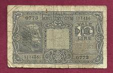 Buy ITALY 10 Lire 1944 Banknote 111486 0773 Sig Bolaffi, Cavallaro & Giovinco P32 - WWII