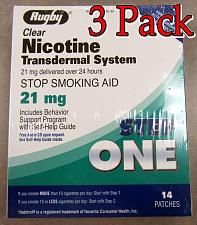 Buy 3 pack .. rugby...nicotine patches 21mg.. 14 per box...step one