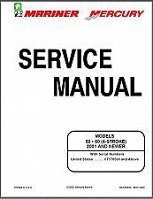 Buy Mercury / Mariner 50 / 60 4-Stroke Outboard Motors Service Manual on a CD
