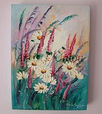 Buy White Daisies Original Oil Painting Meadow Lavender Wild Flowers Impasto Textured