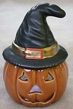 Buy Halloween Pumpkin Votive Light Holder w/Black Hat