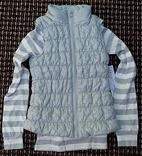 Buy Girl's Silver/Gray Puffer Vest with Striped Matching Top Size 6/6X