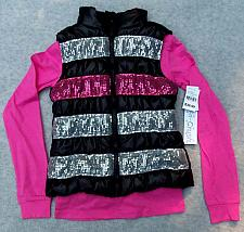 "Buy Girl's Black/Gray/Pink Sparkly Stripes ""Puffer"" Vest Matching Pink Top Size 4/5"