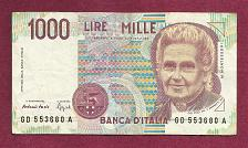 Buy Italy 1000 Lire Mille Banknote GD553680A (1990)- Maria Montessori/Teacher