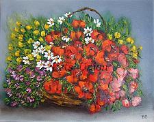 Buy Red Poppies Original Oil Painting Wild Flowers Daisies Impasto Palette Knife Purple