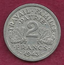 Buy France 2 Francs 1943 Coin - WWII Currency - Vicky France - Etat Francais