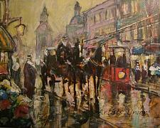 Buy Cityscape Old Town Original Oil Painting Walking People Figurative Carriage Red Tram