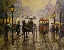 Buy Rain Cityscape Original Oil Painting Old Town People Figurative Red Tram Cab Umbrella