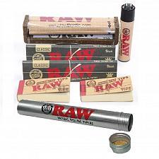 Buy RAW Rolling Paper Bundle King Size Black+110mm Roller+Lighter+Tips+Storage Tube