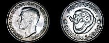 Buy 1942(m) Australian 1 Shilling World Silver Coin - Australia - Lot#9811