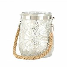 Buy *17697U - White Pearl Glass Candleholder Flower Burst Design w/Rope Handle