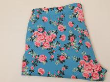 Buy Women Capri Leggings SIZE XL Blue Floral Print Skinny Legs Inseam 22