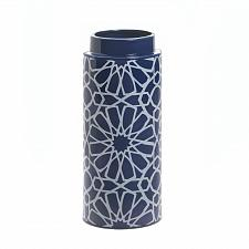 "Buy *16809U - Orion Blue 11 1/2"" White Geometric Pattern Ceramic Vase"