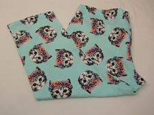 Buy Women Capri Leggings Mint CAT Print SIZE XL Inseam 22 Cropped Legs