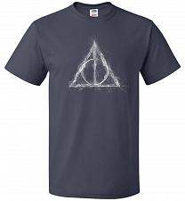 Buy Deathly Hollows Unisex T-Shirt Pop Culture Graphic Tee (L/J Navy) Humor Funny Nerdy G