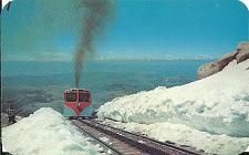 Buy Train Pikes Peak Cog Road Summer Snow Banks Colorado Postcard